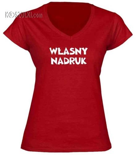 Koszulka damska V-neck dowolny TEXT