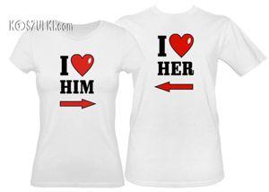 Koszulki dla pary-Zestaw koszulka damska i t-shirt I Love