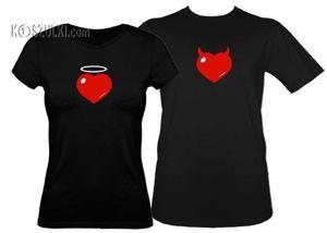 Koszulki dla pary-Zestaw koszulka damska + t-shirt Serce aureolka + różki