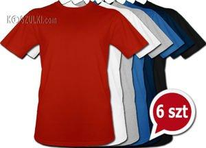 Pakiet 6 t-shirtów bez nadruku Wybierz rozmiar i kolor