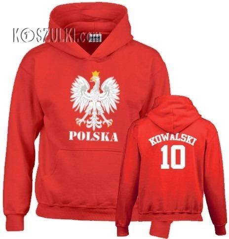 Bluza z kapturem Orzeł Polska Nazwisko i numer