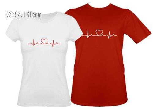 Koszulki EKG serce Zestaw dla pary- koszulka damska i t-shirt
