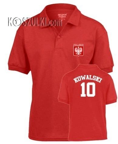 T-shirt dziecięcy Polo małe godło Nazwisko i numer