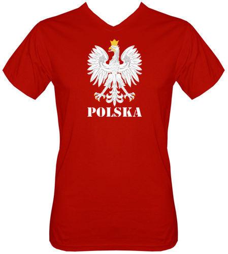 T-shirt v-Neck TV001 Orzeł Polska Czerwony