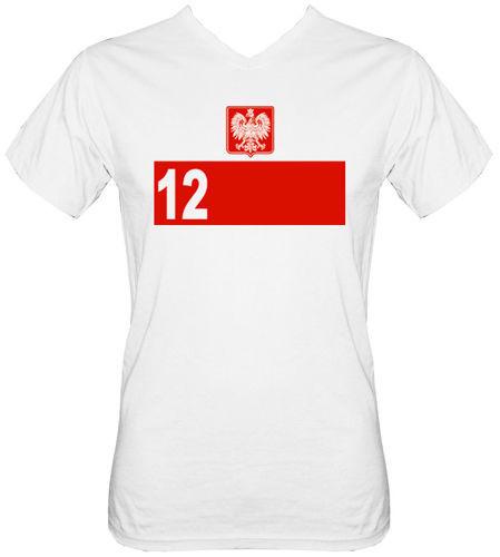 T-shirt v-Neck TV030 Polska 12 zawodnik BIALA