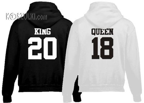 Zestaw bluz z kapturem King & Queen i Twój numer