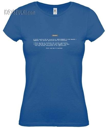 koszulka damska Blue Screen 95-98- NIEBIESKA