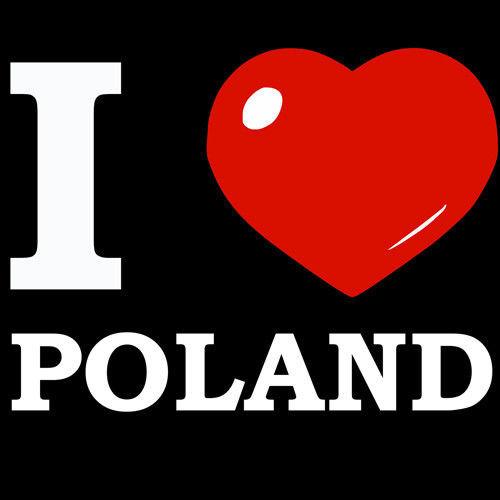 koszulka damska I love Poland Czarny