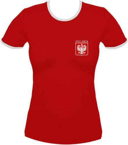 koszulka damska Kd021 Polska małe Godło Czerwony