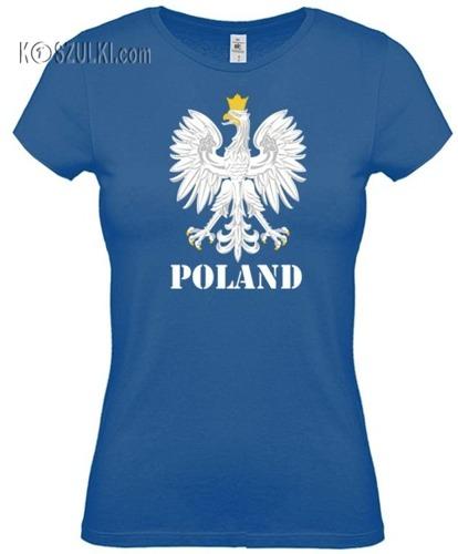 koszulka damska Kd110 ORZEŁ Poland- NIEBIESKI