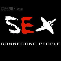 koszulka damska Sex Connecting People- CZARNA