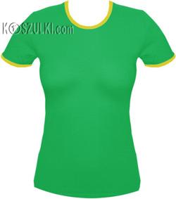 koszulka damska ZIELONA - żółta lamówka