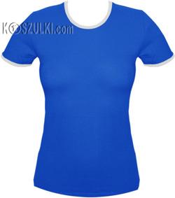 koszulka damska  niebieska z białą lamówką