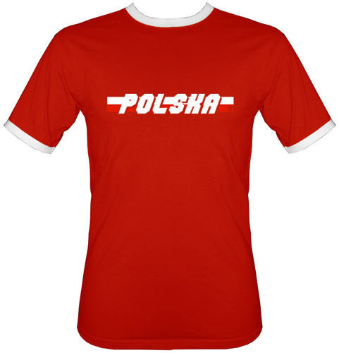 t-shirt 2K055 Polska napis Flaga Czerwony