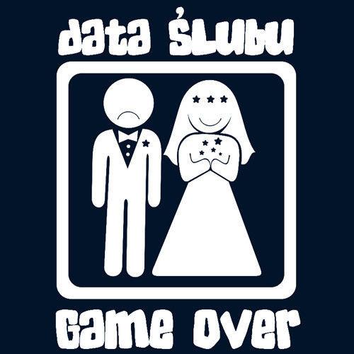 t-shirt Game Over Kawalerski  Ślub Data