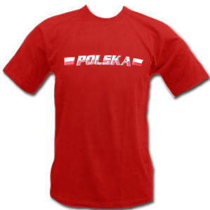 t-shirt Polska czerwony  mini flagi