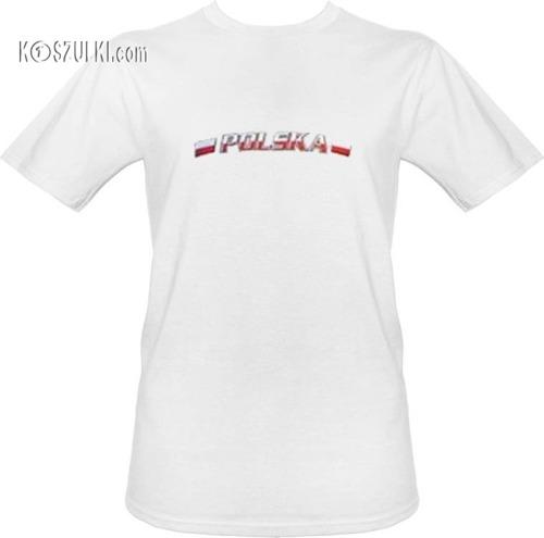 t-shirt T088 Polska-biały